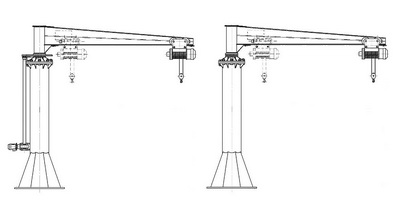 Freestanding cantilever crane on support